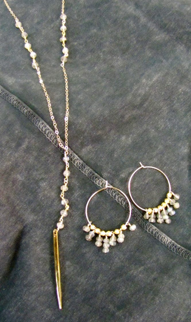 Gold hoop earrings and Dagger necklace with Moonstones