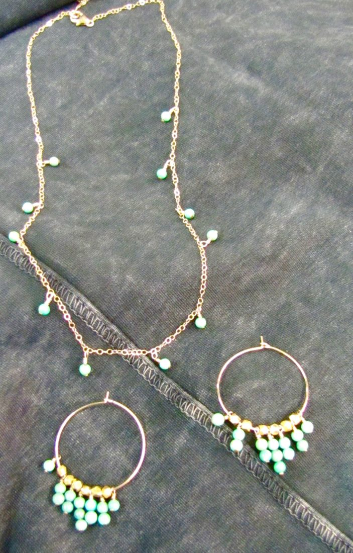 Gold hoop earrings & necklace with turquoise stones