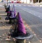 witch hats on bollards