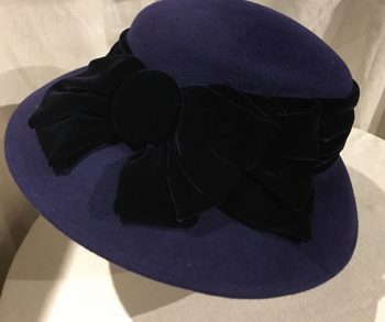 Navy Velour hat with black velvet trim