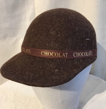 "Brown Hat with band that says ""Chocolat"""